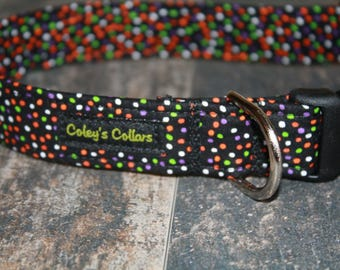 "Dog Collar Medium 1"" Ready to Ship Sale  ""The Halloween Confetti"""