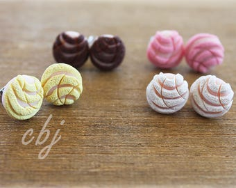 Pan Dulce Earrings, Concha Earrings, Pan Dulce Post Earrings in your choice of Colors: white, pink, yellow, or brown