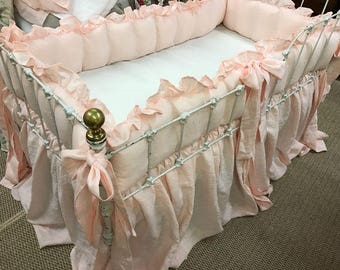 Washed Linen Crib Bedding in Baby Pink----Ruffled Crib Bumpers-Storybook Crib Skirt--Ruffled Floral Pillow