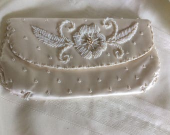 Vintage Ivory Satin and Pearl Evening Clutch Wedding Dressy