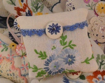 Charming Lavender Sachet Vintage Blue Embroidery Shabby Cottage Chic