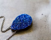 RESERVED Blue Drusy Necklace, Titanium Drusy Sterling Silver Necklace, Neon Blue Druzy Pendant - Cloths of Heaven