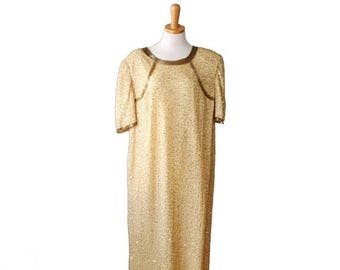 50% half off sale // Vintage New Years Gold Beaded Sequin Dress - Women Silk Sack Dress, Large