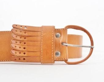 50% half off sale // Vintage Camel Brown Fringe Leather Belt - Women M L - Boho, T. Edwards, 1980s