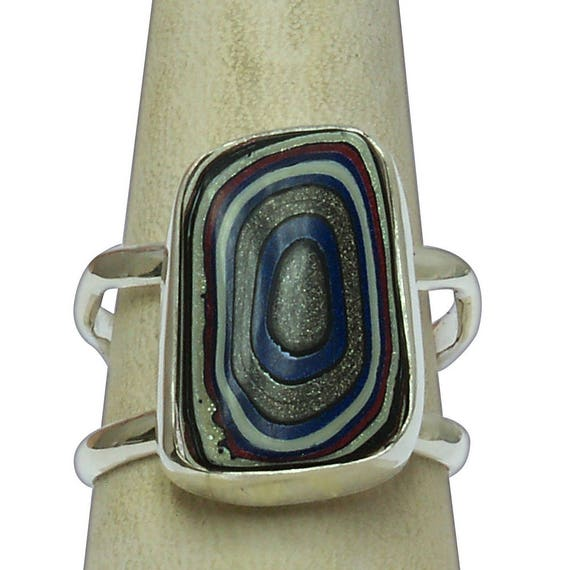 Fordite and Sterling Silver Statement Ring, Size 7-1/4  r725frdg2885