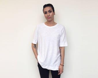 Loose Fit Tunic Long Top   Boxy Minimalist Black Cotton Slub Knit T-Shirt   Minimal Tee Tunic Shift