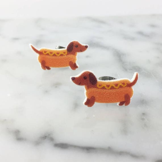 teckel, small, dog, hotdog dog, fast food dog, brown, earrings, hypoallergenic, plastic, stainless stud, handmade, les perles rares