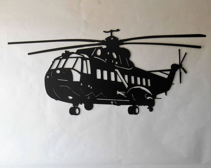 Large Sikorsky S-61 Helicopter Aviation Metal Wall Decoration