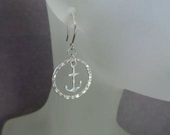 Summer Outdoors, Summer Earrings, Sterling Silver Circle Earrings, Silver Anchor Earrings, Hammered Silver Circles, Silver Hoop Earrings