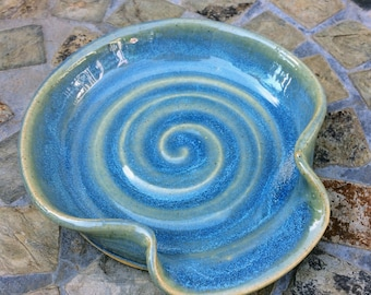 Ready to Ship: Ceramic Spoon Rest in Opal Blue