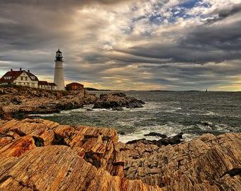 Lighthouse Photography - Maine Lighthouse - Lighthouse Photography - Portland Head - New England Coast - Autumn - Wall Art - 8 X 12 + Prints