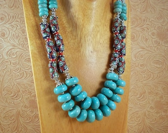 Gypsy Cowgirl Necklace Set - Chunky Turquoise Howlite and Coral - African Trade Beads - Tribal - Western