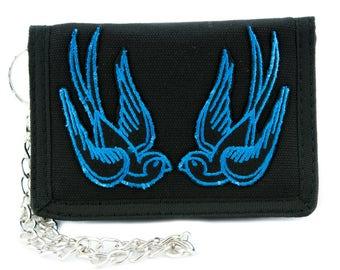 Blue Swallow Sparrow Birds Tri-fold Wallet Alternative Clothing Rockabilly Tattoo Ink - YDS-EMPA-052-BLUE-Wallet
