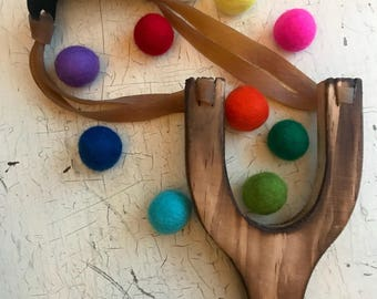NEW style! Wooden Slingshot with felt balls