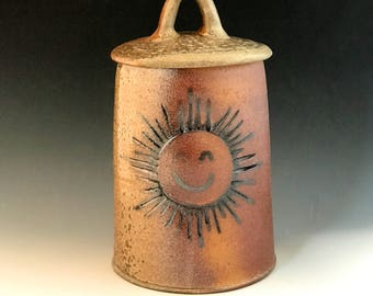 Pottery Jar, Wood Fired Stoneware, Lidded Storage Jar, (Cookies, Flour, Treats, Coffee) Tall Kitchen Canister with Sun Symbol.
