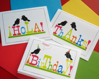 Birthday card, thank you Blank Note cards, bird cards