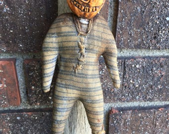 OOAK Grungy Primitive Halloween Orange Pumpkin JOL Folk Art Doll  For Horror Prop Oddity Freak Show Cabinet Free Ship in USA