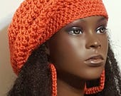 SALE Salmon Colored Crochet Beret Tam and Earrings by Razonda Lee Razondalee Ready to Ship