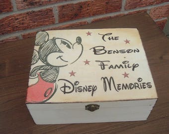 Special Offer Any 2 Vintage Disney Keepsake christmas Memory Box personalized wooden box treat box personalized xmas family