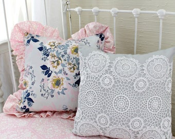 Navy Pink and Gray Floral Accent Pillows, Nursery Accessories, Baby Bedding Matching Throw Pillows, Ethereal Lullaby Coordinating Accessory
