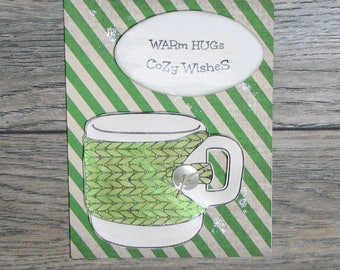 Warm Hugs, Cozy Wishes Distressed Green handcrafted card-CB123117-31