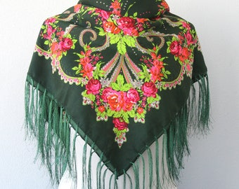Green fringed scarf floral square scarf Russian shawl Ukrainian scarf fringe shawl winter fashion scarves for women valentines day gift