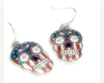 Sale| Patriotic Flag Skull Earrings, Indepedence Day, July Fourth 4th, Dia de los Muertos, Day of the Dead, Sugar Skull Dangle Earrings, Cal