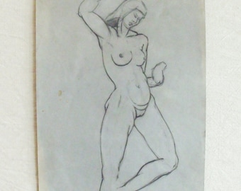 Vintage Original Beautiful Voluptuous Woman Nude Pencil Drawing on Paper 2
