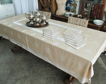 Antique Taupe Damask Banquet Tablecloth with 12 Napkins