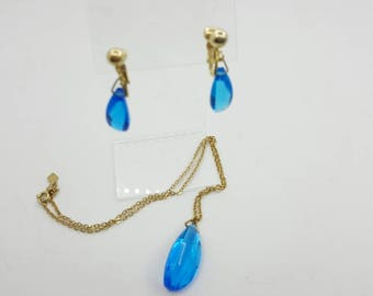 Sarah Coventry Twilight Time  Pendant and Clip earrings 1959 mint condition Blue