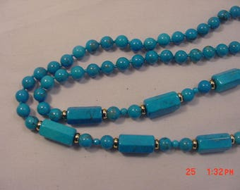Vintage Polished Glass Beads Necklace  18 - 404