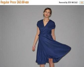 FLASH SALE - Vintage 1970s Navy Blue Wrap Dress  -  70s Wrap Dress  -  1970s Navy Dresses   - WD0649