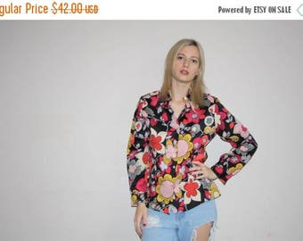 FLASH SALE - 1960s Vintage Novelty Graphic Pop Art Floral Psychedelic Festival Blouse - Vintage 60s Tops - 60s Graphic Tops - W00540