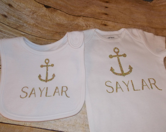 Anchor baby bodysuit - Nautical baby gift - personalized bib - personalized creeper - gold glitter vinyl - baby gift - nautical theme gift