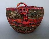 Coiled Basket, Fabric Basket, Autumn Batik