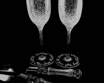 Wedding Toasting Flutes and server set, hand painted, engraved, personalized