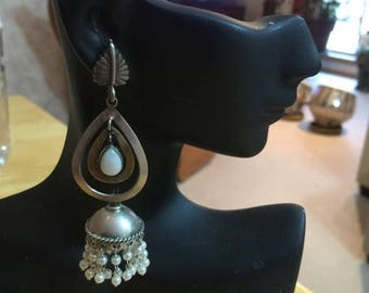 ON SALE Jaipur Jhumkas-J507-Light weight Pearl jhumkas with leaf posts