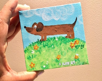 Dachshund, whimsical wiener dog painting, 4x4 inch acrylic art