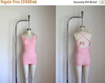 20% off SALE vintage 1930s/40s swimsuit - SEA GODDESS peach knit bathing suit / Xs-S