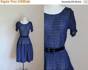 20% off SALE vintage 1940s sheer dress - NOSTALGIC NAVY smocked drap waist dress / M