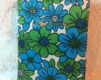 20% SALE 60s Retro Address Book Blue Green Floral Made in Japan