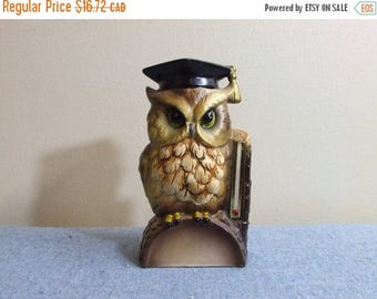 CLEARANCE Ceramic Owl Thermometer Retro Ceramic Woodland Home Decor Thermostat Vintage Forest Owl Grad Graduation Cap