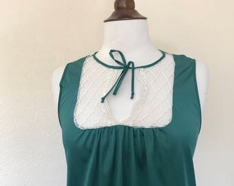 vintage 60s green lace collar bow tie nightie
