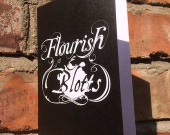 Flourish And Blotts Greeting Card of Diagon Alley - Harry Potter - Size A6 Blank Inside