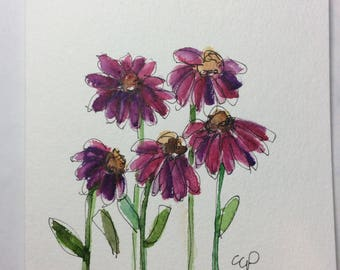 Cone Flowers Watercolor Card / Hand Painted Watercolor Card