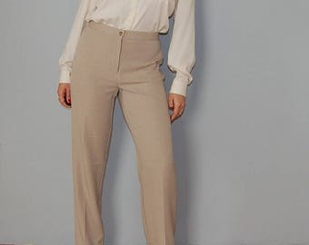 sand nude trousers / basic high waisted trousers / marlene dietrich cigarette pants / 1940s inspired pants