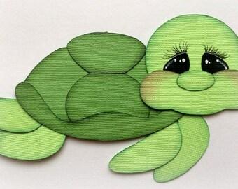 Adorable sea turtle animal premade paper piecing 3d die cut by my tear bears kira