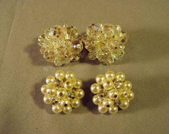 Vintage 1950s 2 Pairs LAGUNA Signed Crystal Glass Bead Clip Earrings 9392