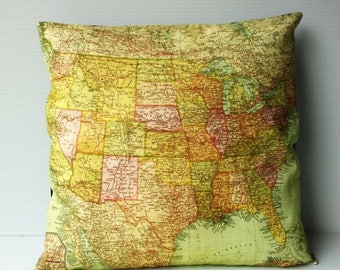 SALE SALE SALE United states map Cushion cover/ pillow Usa map cushion/ organic cotton/ throw pillow /16x16 /pillow cover