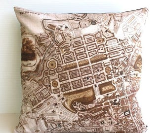 SALE SALE SALE decorative pillow, map cushion, city map , pillow cover, Edinburgh Organic cotton cushion cover, map pillow 16 inch